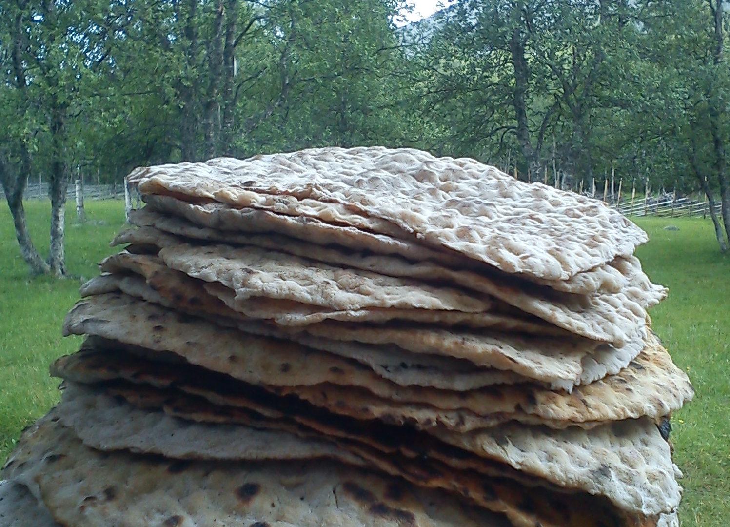 Bake traditional flatbread over open fire, Brot backen vacaciones en Suecia cultura escandinava Familia Amigos viajar autocaravana naturaleza pan plano