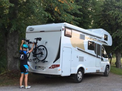 Cycle on motorhome holiday Sweden