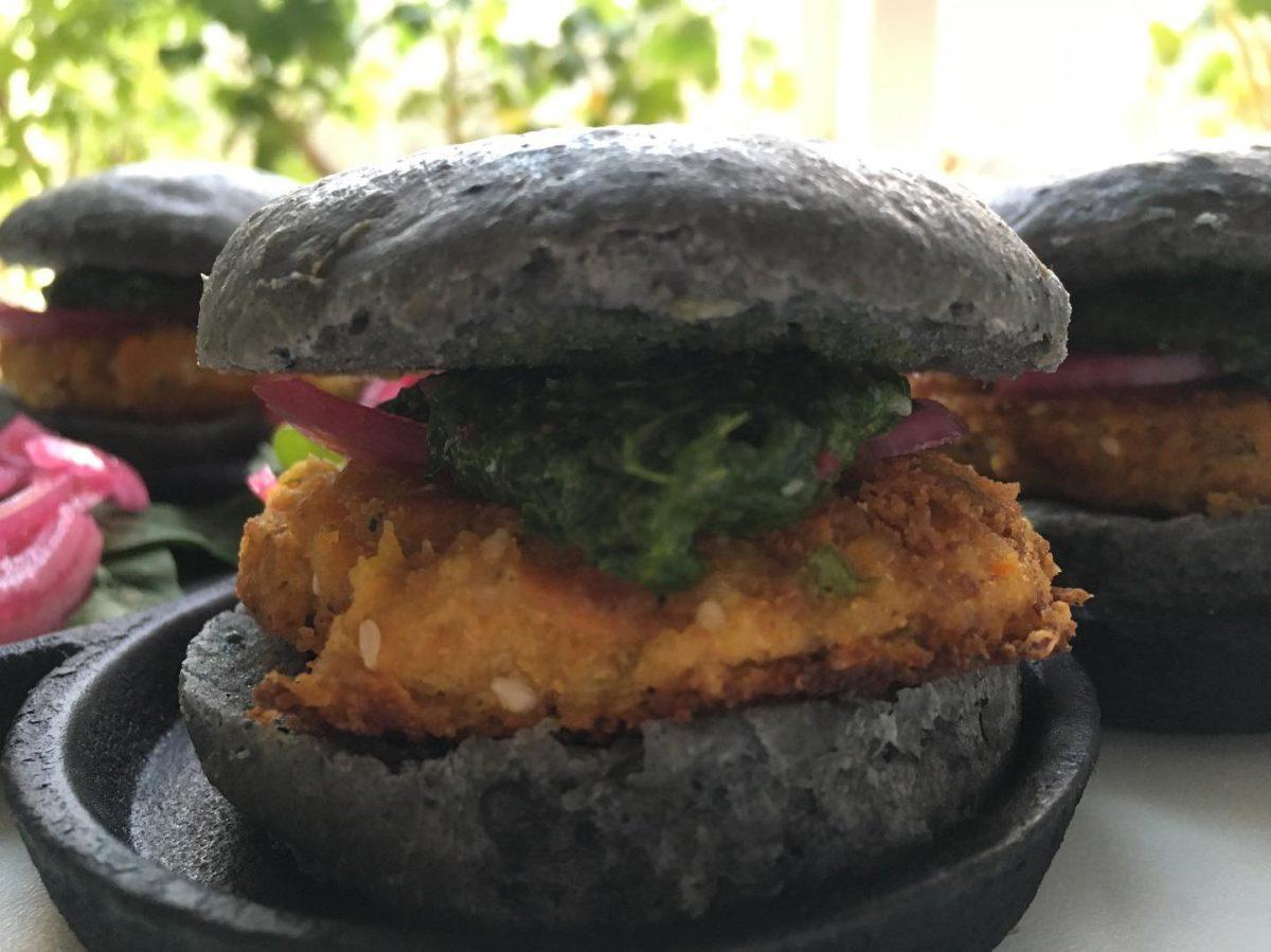 biochar food cooking black burgers