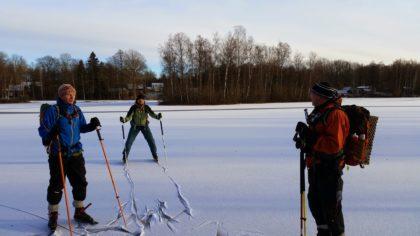 Skating snowy lake winter wonderland