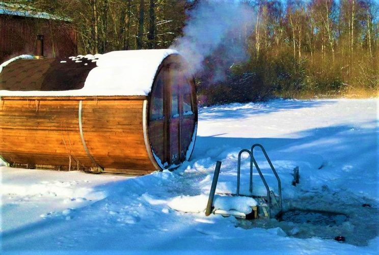 sauna cold water dip winter holiday snow