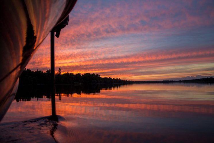 midnight sun fishing lapland red sky
